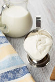 Dairy products - milk, sour cream. — Stock Photo