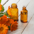 Calenduland bottles with medicines. Concept homeopathy. — Stock Photo #35614729