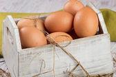 Chickenl eggs in box — Stock Photo