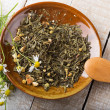 Dry herbal tea on plate — Stock Photo #36507423