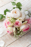 Postcard with fresh roses — Stock Photo