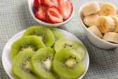 Fresh kiwi, strawberry, banana — Stock Photo