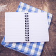 Open empty notebook on wooden background — Stok fotoğraf