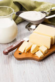Dairy products - butter, milk, sour cream. — Stock Photo