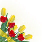 Postcard with fresh yellow and red tulips — Stock fotografie
