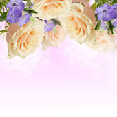 Postcard with elegant roses and periwinkle — Stockfoto