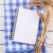 Stock Photo: Open empty notebook with wheat