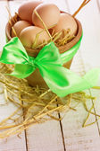 Pot with easter eggs — Stock Photo