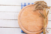 Empty board for text on wooden background — Stock Photo