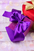 Festive gift boxes — Stock Photo