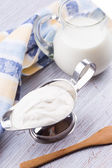 Dairy products - sour cream and milk — Stock Photo