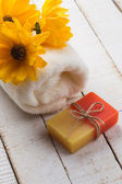 Bar of natural handmade soap on table. — Stock Photo