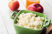 Cottage cheese, apples, honey — Stock Photo