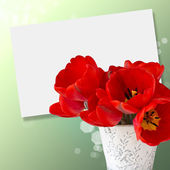Postcard with elegant flowers tulips — Stock Photo