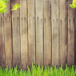 Stock Photo: Grass against wooden background