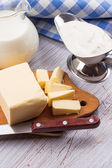 Dairy products - butter, sour cream, milk — Stock Photo