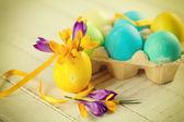 Fresh crocuses and  Easter eggs — Zdjęcie stockowe