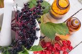 Elderberry in mortar — Stock Photo