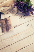 Vintage background with photos — Stock Photo