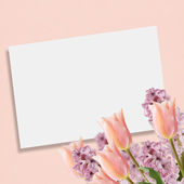 Postcard with flowers — Stockfoto