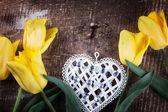 Kwiaty i serca — Zdjęcie stockowe