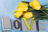 Word love and flowers — Stok fotoğraf