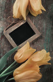 Fresh tulips and empty blackboard — Stok fotoğraf