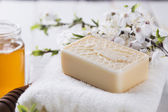 Bar of natural handmade soap — Foto Stock