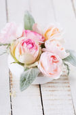 Postcard with fresh flowers — Stock Photo