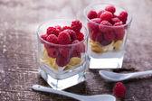 Desserts with raspberries — Stock Photo