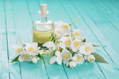 Aroma oil with jasmine — Stock Photo