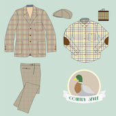 Illustration of men's clothing in country style — Stock Vector