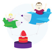 Airplane carousel with kids — Stock Vector