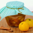 Glass jar with apple jam — Stock Photo #29772467