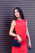 The girl in a red dress — Stock Photo