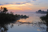 Fog on the river — Stock Photo