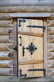 The door in log house — Foto Stock
