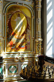 Fragment of earthenware iconostasis with icons of Christ — Stock Photo