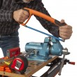 Stock Photo: The joiner with the tool on a white background.