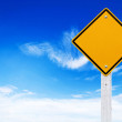 Road signs, Blank yellow warning with sky background (Clipping path) — Stock Photo #32010157