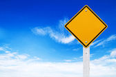 Road signs, Blank yellow warning with sky background (Clipping path) — Stock Photo