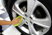 Sponge & microfiber cleaning car wash — Stock Photo