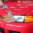 Hand with wipe car polishing — Foto Stock #32411395