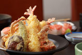 Tempura Shrimps and Crab tempura with Vegetables. Japanese Cuisi — Stock Photo