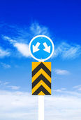Road sign a blue sky background (Clipping Path) — Stock Photo