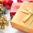 Gift box with christmas present ans decor — Стоковая фотография