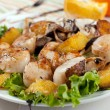 Seafood salad with scallops, mushrooms and oranges — Stock Photo #21513795