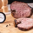 Roasted meat slice and thermometer — Stock Photo #21516835