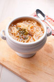 Noodle soup with vegetables and mushrooms — Stock Photo