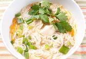 Chicken noodle soup closeup — Stock Photo